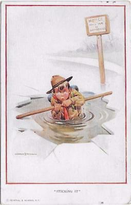 Pc Harold Earnshaw Boy Scout Fell In Ice Sticking It  Artist Signed Posted 1921