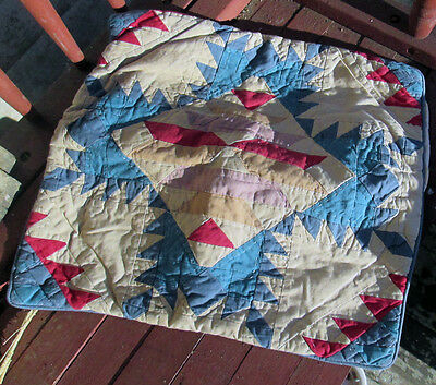 Primitive Patchwork Quilted 1930's Handmade Pillow Cover Americana