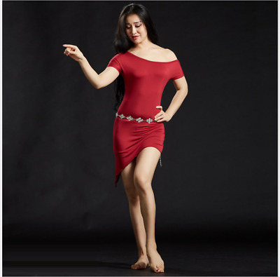 New Modal One-piece Skirt Performance Belly Dance Dress Practice Dancewear 5085