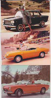 Lot of 10 different Fiat sportcars postcards 850 sport coupe OSCA 2300 Ghia 131
