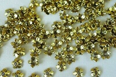 100 Antique Gold Coloured 6mm Flower Bead Caps #bc3832 Jewellery Making Findings