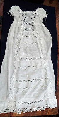 Antique Baby Christening Gown/b Anglais Frills