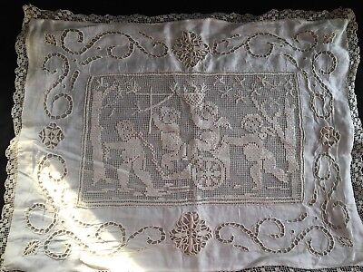 Antique Hand Made Broderi Anglaise Cotton Lace Pillow Cover Angels