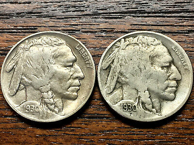 Lot of 2 Buffalo Nickels 1930 P&S, full & part horn, AU & VF , circulated
