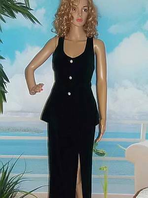 Vintage 80's Velvet Formal Skirt & Top Suit Rhinestone Buttons Sexy Back 6 Small