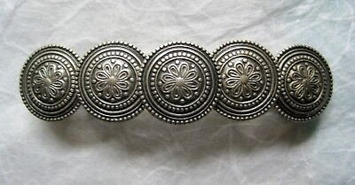 Vintage Hair Barrette Silver Plate Medallions - French Made Clips - 2.75 inch