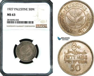 AB510, Palestine, 50 Mils 1927, London, Silver, NGC MS63