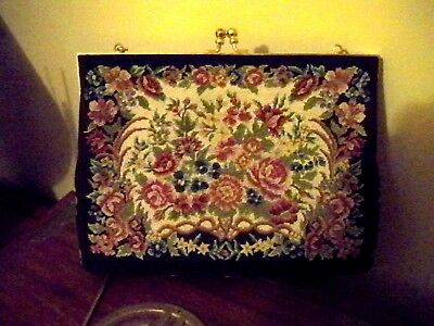Vintage Needlepoint Pettipoint Purse