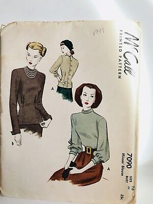 Vintage 1947 McCall Sewing Pattern Misses Blouse Pattern Size 16