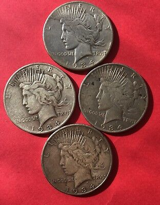 4 Coin Lot 1934 S Peace Dollars