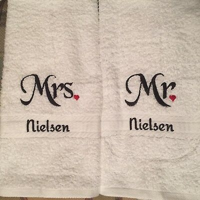 Embroidered Mr & Mrs Hand Towel Set (2) with FREE personalization, his and hers