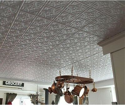 Statement Ceiling Tile ~ White Matte Faux Tin Panel Surface ~ EZ Install 2' x 4'