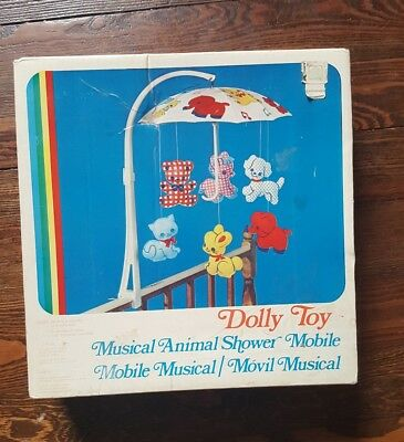 WORKING Vintage Dolly Toy Musical Animal Shower MOBILE 603 w/ Box Rare Complete