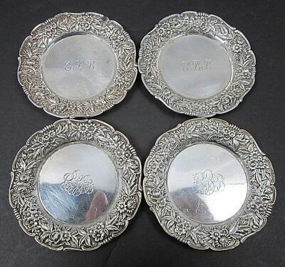 4 S. Kirk & Son Sterling Silver Butter Pats #17 Repousse Flowers