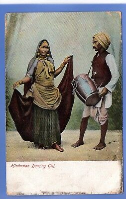 Old Vintage 1907 Postcard Hindustan Dancing Girl India