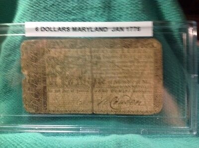 Colonial Currency Maryland 6 Dollars 1776 In Bcw Hard Case