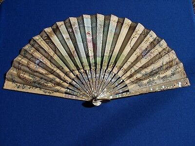Antique VICTORIAN FRENCH CARVED Pearl Silk SEQUIN Hand PAINTED FAN Artist SIGNED