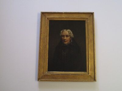 19Th Century Portrait Painting Woman In Black Dress Antique Early American Old