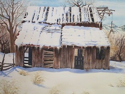Ron Rencher Painting Listed American Winter Landscape Original Watercolor Vntg