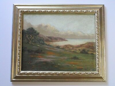 Richard Detreville Painting Antique Early California Landscape Blooming Poppies