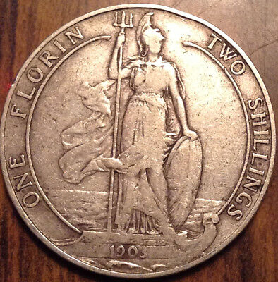 1903 Uk Gb Great Britain Silver Florin Keydate Coin In Good Condition !