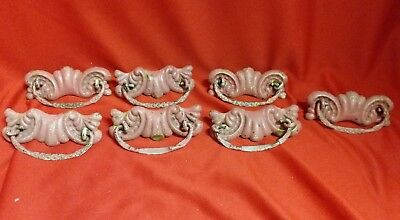 7 Original Antique Victorian Brass Drawer Dresser Pulls Handles