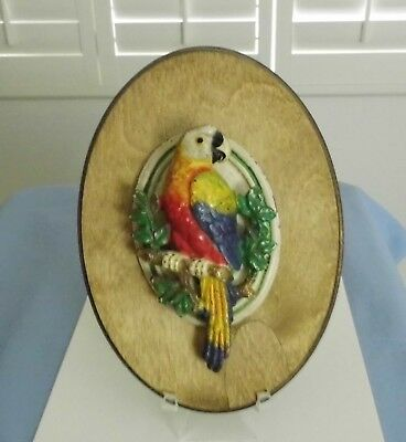 Old Authentic Cast Iron Parrot Door Knocker On Wood Plaque~Stunning Orig Paint