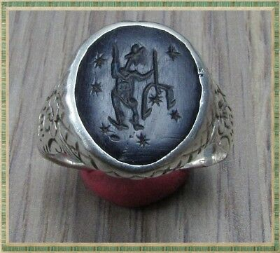Ancient Silver LEGIONARY Roman INTAGLIO Ring ** NEPTUNE with TRIDENT **