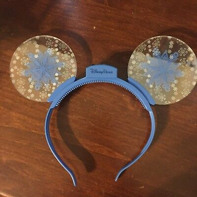NEW Disney Parks FROZEN SNOWFLAKE Mickey Ear Animated Glow Headband! Ears Elsa
