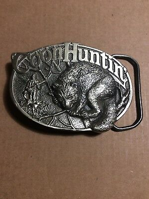 """"""" Coon Huntin"""" VintagePewter Belt Buckle.1985 From The Great American Buckle Co"""