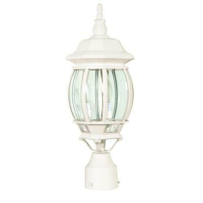 Metal Frame 3 Light Post Light with Clear Glass Shade Finial White Finish