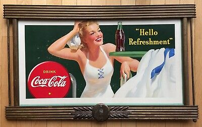 "Coca Cola 1942 Large Poster, ""hello Refreshment"" - Schmidt Auction Item"