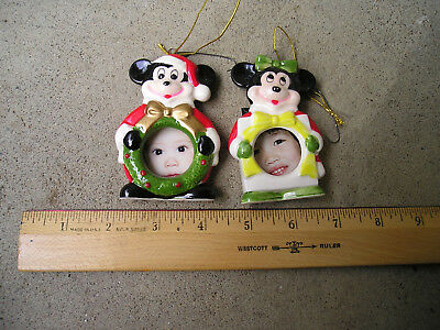 Mickey and Minnie Xmas Ceramic Picture Frames Tree Decorations