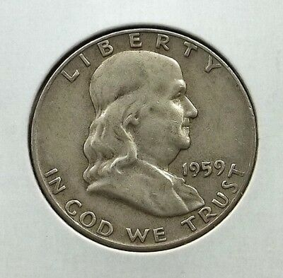 1959-D Franklin Half Dollar Silver Coin - Circulated - Denver Mint - #f01