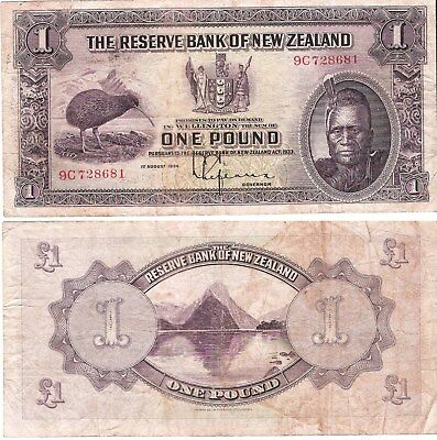NEW ZEALAND 1 Pound (01.08.1934) Pick 155, Fine  *XRARE*
