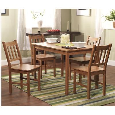 5 Piece Dining Set Rectangular Bamboo Table And 4 Chairs Natural Finish