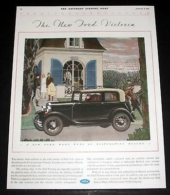 1931 Old Magazine Print Ad, Ford Victoria, New Ford Body Of Distinctive Beauty!
