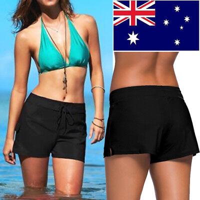 Womens Stretchy Drawsting Waist Bikini Swim Surfing Shorts Boardshorts Black AU