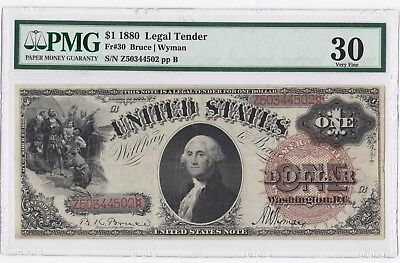 1880 $1 Legal Tender Fr.30 Large Brown Spiked Seal PMG 30 SCARCE One Dollar Note