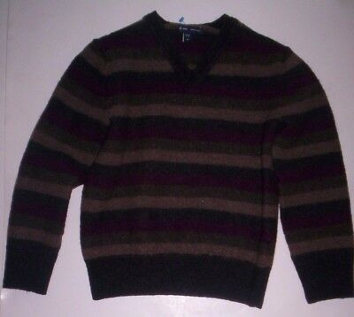 Unisex Boys & Girls GAP Merino Wool Pullover V Neck Sweater Size M Gray Striped