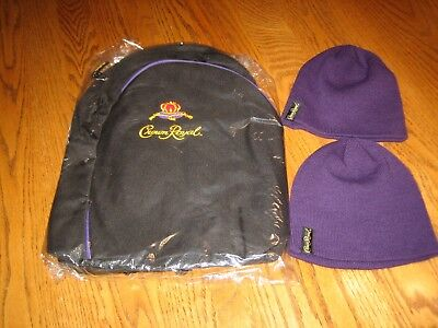 NEW Crown Royal Whiskey Backpack Tote Bag with Straps Bookbag & 2 Beanies hat