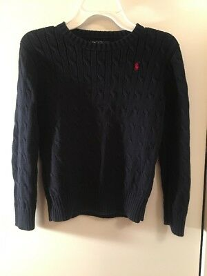 Kids Polo Ralph Lauren Navy Blue Cable Knit Sweater Size S Boys Or Girls EUC