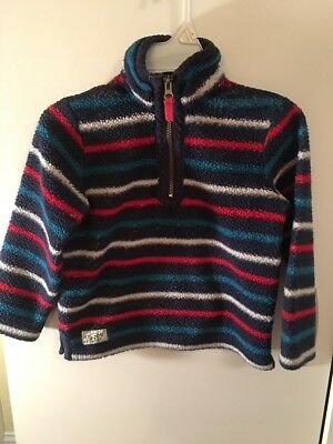 "Joules 1/4 Zip Pull Over Rugby Boy's Striped Sz 6 EUC Very Nice ""Warm"" Winter"