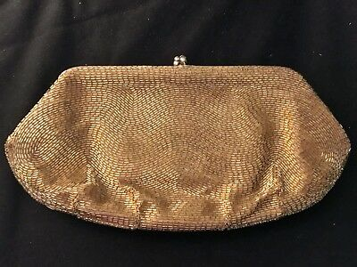 Vintage Gold Lame' Evening Clutch Bag Made By Magid Japan
