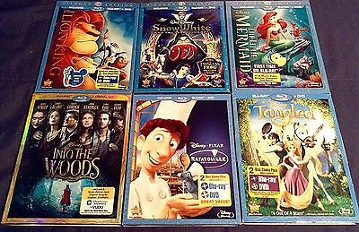 Disney Blu Ray Lot X 6 The Little Mermaid. Snow White, Lion King, Tangled, More+