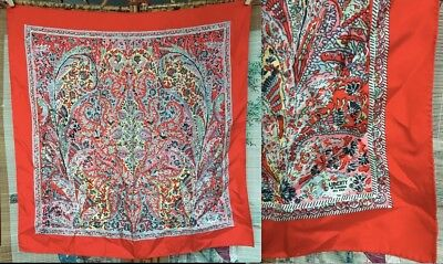 """Vtg Liberty Of London Uk Pure Silk Mint! Scarf Rolled England Red Blue Pink 23"""""""