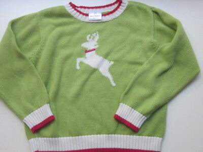 Hanna Andersson 140 Vintage Green Red Reindeer Holiday Bright Sweater Christmas