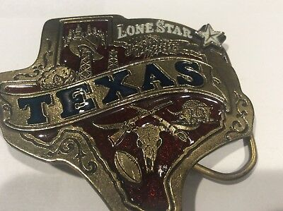 Vintage TEXAS Belt Buckle 1980 by Great American Buckle Co Chicago #142
