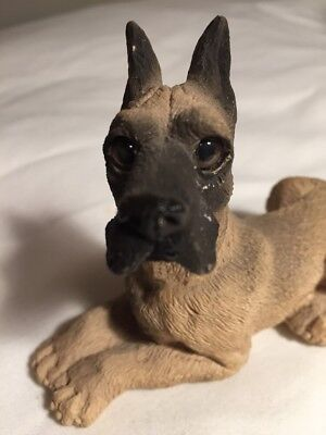 Dog Figurine Dane Vintage Clay Ceramic Great Fawn Black Muzzle
