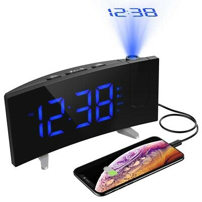 Digital Projector LED Projection Dual Alarm Clock Snooze FM Radio 12/24 Hours
